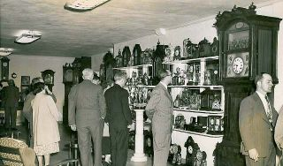 Visitors to the Willis Michael clock room 1949