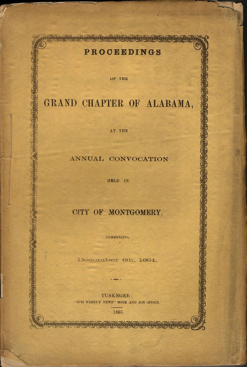 Grand Chapter Alabama Proceedings 1864