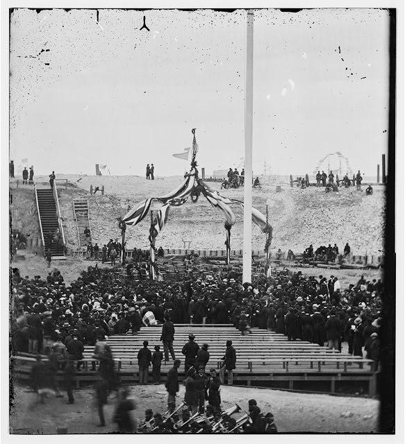 Flag-raising Fort Sumter 1865