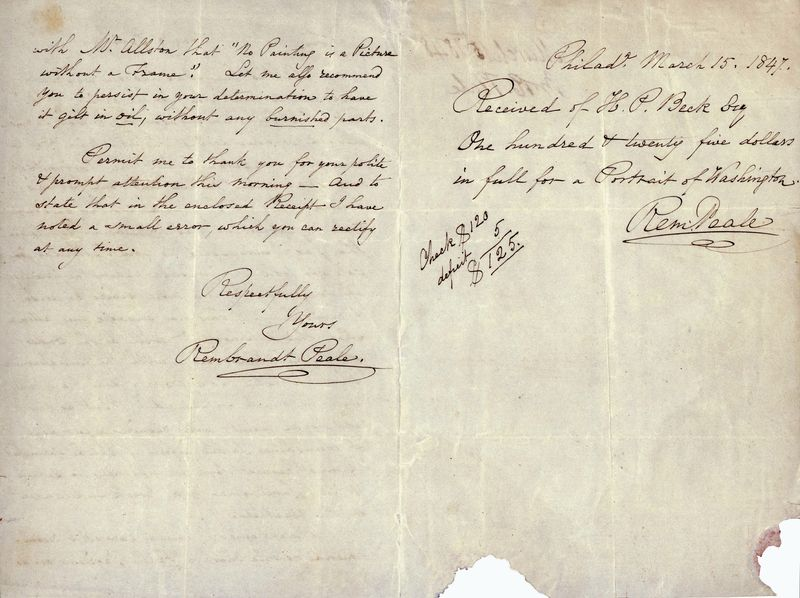 Signature side of Peale letter