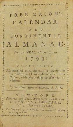Free Mason's Calendar title page