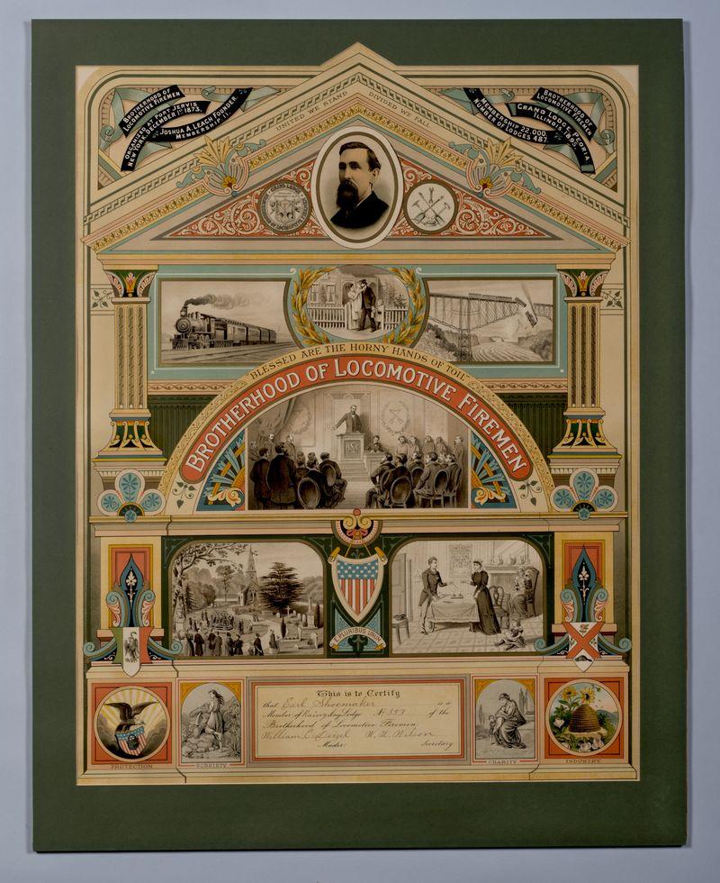 Certificate for Brotherhood of Locomotive Firemen