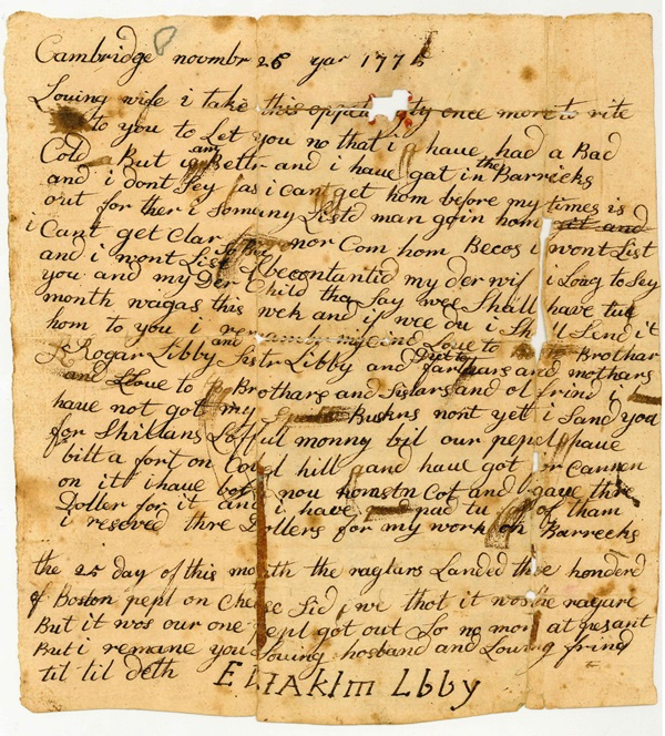 Letter from Eliakim Libby Nov 26 1775 front smaller