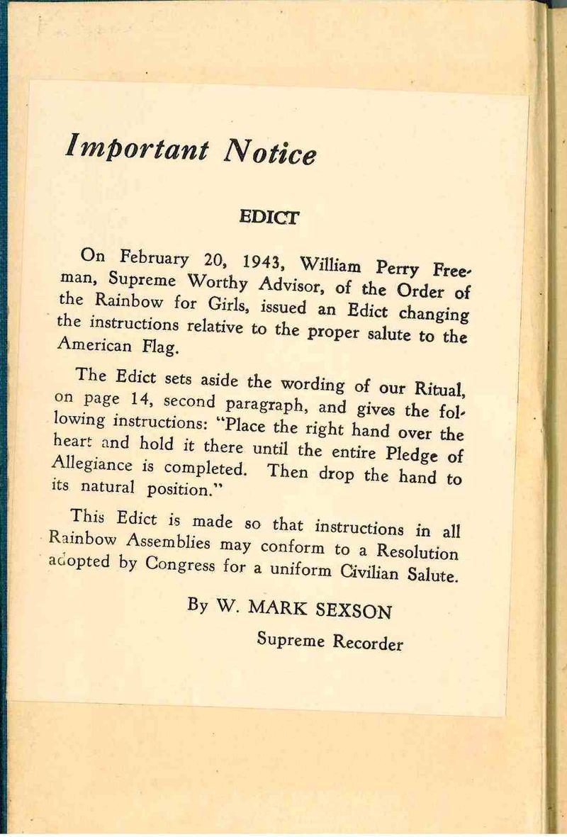 Pledge of Allegiance note