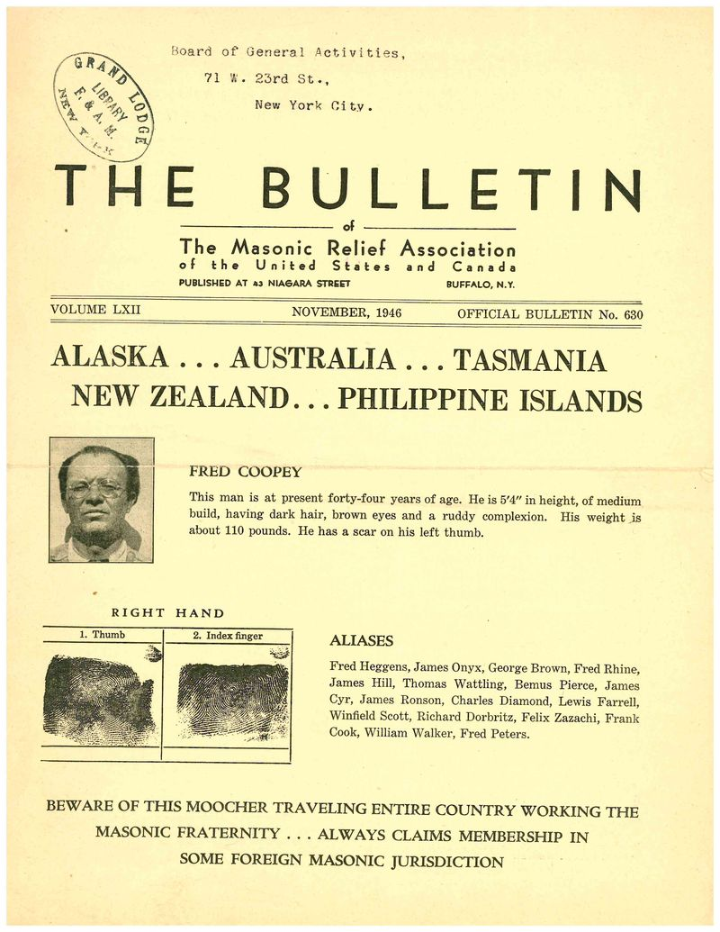 Fred Coopey November 1946 Bulletin