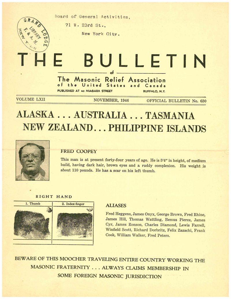 Fred Coopey November 1946 Bulletin