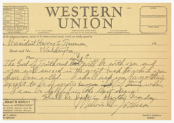 Telegram from Melvin M. Johnson to President Harry S. Truman