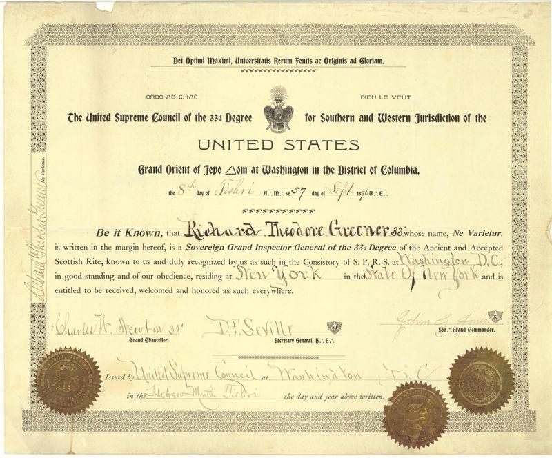 Richard Greener 33rd Degree Certificate