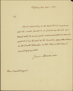 James Madison letter to David Daggett 1817