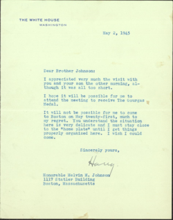 Letter from U.S. President Harry S. Truman to Melvin M. Johnson, May 2, 1945.