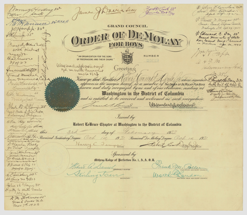 Doyle DeMolay certificate smaller