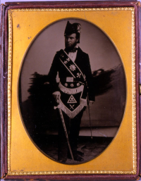Isiah Frazier in Knights Templar Uniform, 1855-1860.